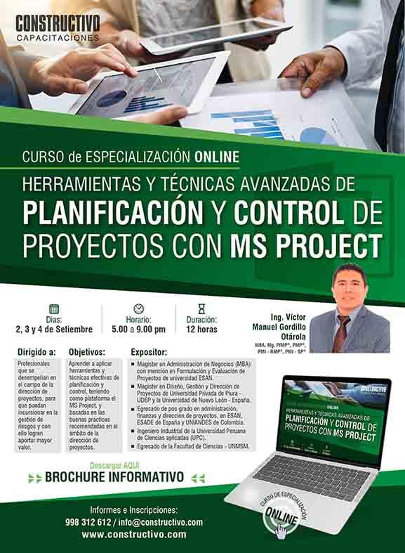 Curso online:  Planificación y Control de Proyectos con MS PROJECT