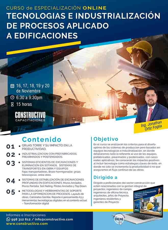 Tecnologías e Industrialización de Procesos aplicado a Edificaciones