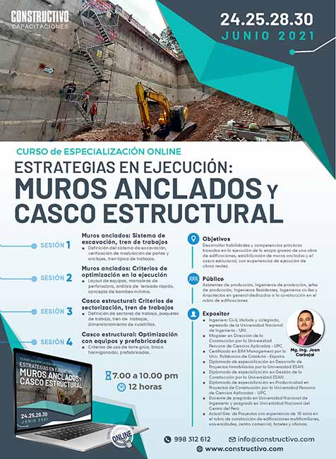 Estrategias en ejecución: Muros Anclados y Casco Estructural